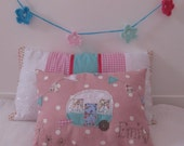Girls Cushion Pillow with caravan applique - Made To Order - PERSONALISED