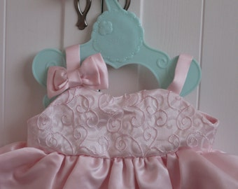 Build a Bear Party Dress Pink Swirl Brocade Satin Custom made to order