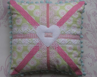 PASTEL UNION JACK Cushion Pillow with lace and ribbon applique - Custom Made To Order