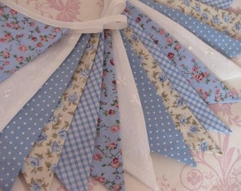 BLUE CHINA Banner Bunting Fabric Flags 11 Feet Long Nursery Baby Shower Wedding Party or Celebration Photo prop Custom Made to order
