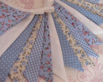 BLUE AND WHITE Banner Bunting Fabric Flags 11 Feet Long Nursery Baby Shower Wedding Party or Celebration Photo prop Custom Made to order