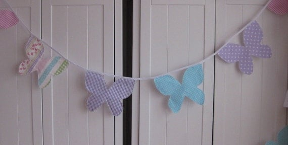 Butterfly Bunting / Banner Pink Lilac Turquoise with Laura Ashley Clementine Fabric room decor nursery baby shower party photo prop