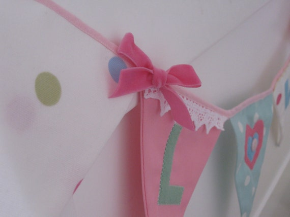 LOVE Banner Bunting Handmade in Pink, Mint and Turquoise Photo prop Custom made to order can be Personalized
