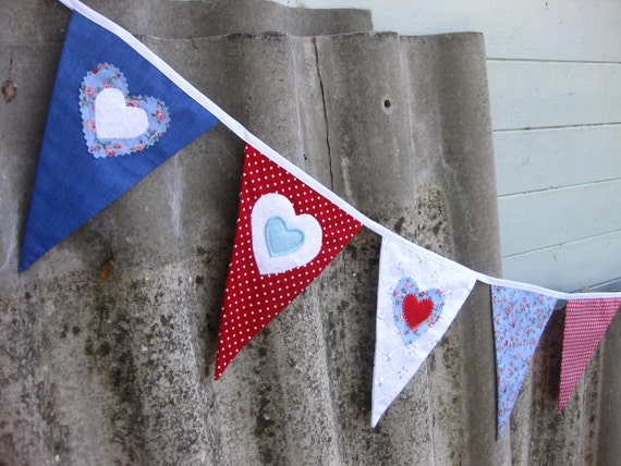 GIRL'S SHABBY CHIC Bunting Banner Red Blue Heart Applique Fabric ideal for Room Decor Party Celebration or Photo prop Custom Made to order