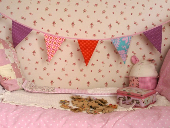 SALE 20% off CANDY BRIGHTS Banner Bunting Flag Amy Butler fabric Great for Nursery Girls Room Party or Celebration Photo prop Ready to ship