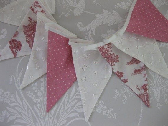 TOILE PINK Banner Bunting Flag with Laura Ashley fabric Nursery Baby Shower Wedding Party or Celebration Photo prop Custom Made to order