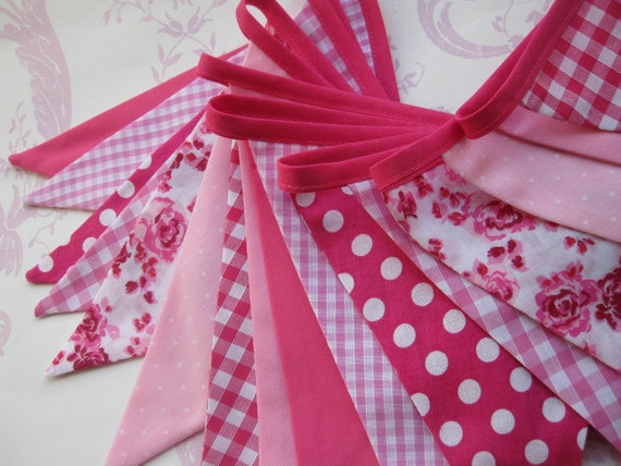 PRETTY PINKS Banner Bunting Handmade Fabric ideal for a Baby Shower Party Decor Nursery or Photo prop Custom Made to order