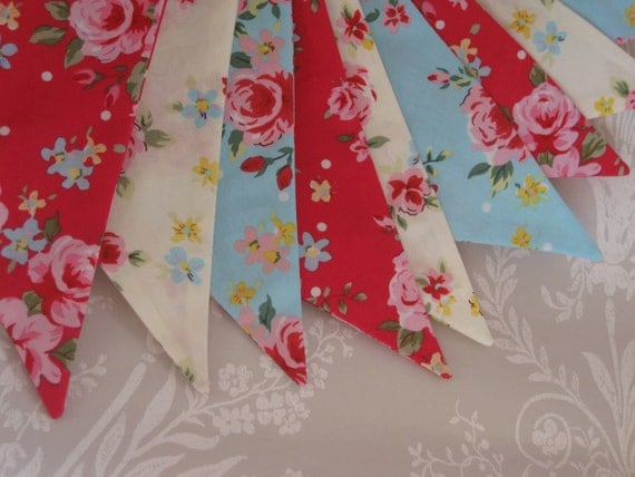 RED WHITE and BLUE Roses Banner Bunting Fabric Birthday Party or Celebration or Photo prop can be personalised Ready to ship