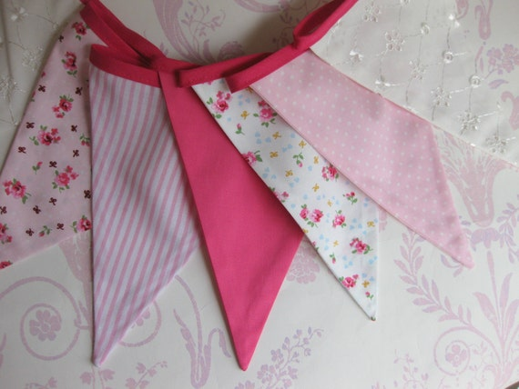 PRETTY PINK and IVORY Bunting Banner Girls Nursery Party Decor Photo prop Baby Shower Custom made to order