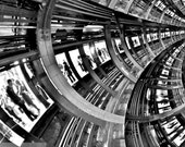 New York subway space travel  lovers - surreal twisty strange kaleidoscope  abstract train in tracks - Fine Art Photograph print  10 x 10