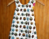 LAST ONE Reversible Pinafore Top whimsy owls and disco dots size 3t. Ready to ship.