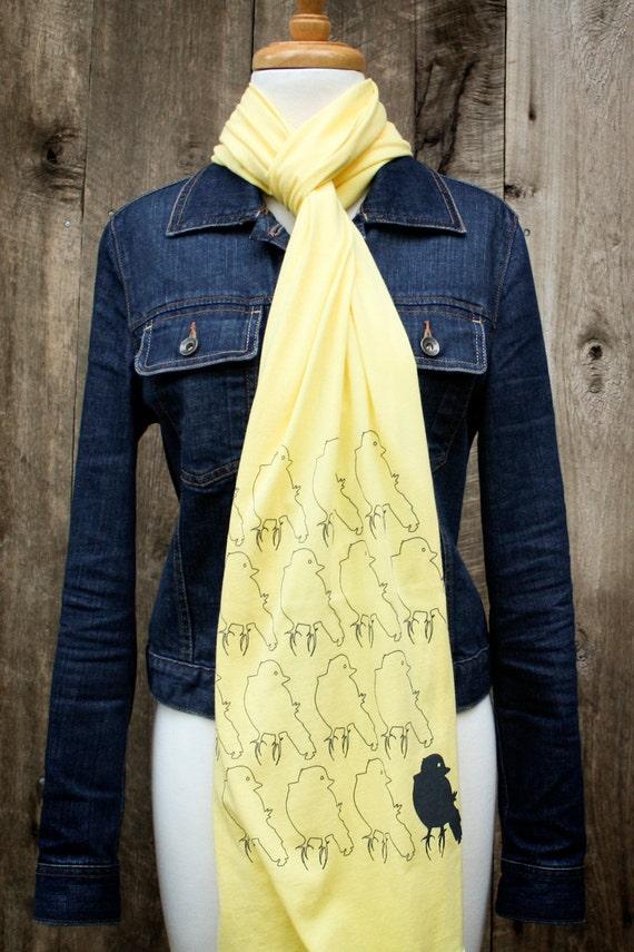 SALE - sixteen canaries jersey knit scarf, lemon yellow