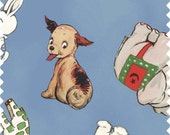 fabric | Puppies Kittens Elephants Mice Giraffe Bunnies teddy bear | 1930's inspired | Blue Hill Fabrics Aunt Lindy Paper Dolls 7170-7 blue