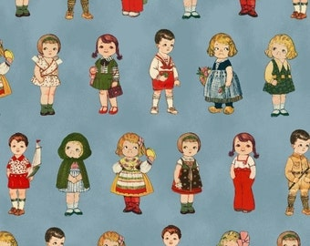 "rare Aunt Lindy's Paper Dolls Around the World | Small Dolls on Blue | Blue Hill Fabrics + Sibling Arts 44"" wide 