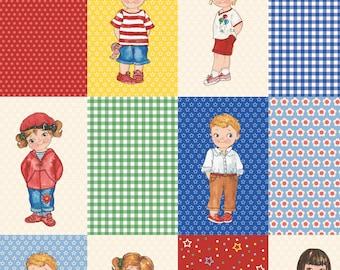 "6"" fabric PAPER Dolls, 599-24, Multi background, Newcastle Fabrics + Sibling Arts Studio, gingham, dots, circles"