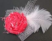 Hot Pink-ish Red With White Polka Dots Rosette Hair Clip, With Feather And Netting