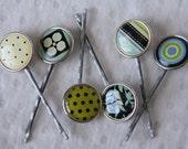 Set of 6 Round Bobby Pins in Shabby Chic Patterns