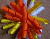 Handmade Halloween Upside Down Candy Corn Korker Hairbow in Orange, Yellow and White