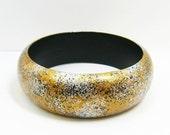 Wooden Bangle Bracelet - Hand Painted - Dome Shape Medium - Radiant Gold & Silver