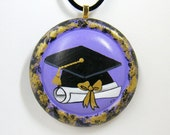 Graduation Necklace In Purple, Black & Gold - Hand Painted Wooden Pendant - One Of A Kind