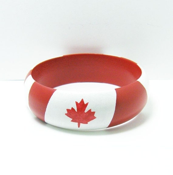 Wooden Bangle Bracelet - Hand Painted - Dome Shape - Large - Oh Canada