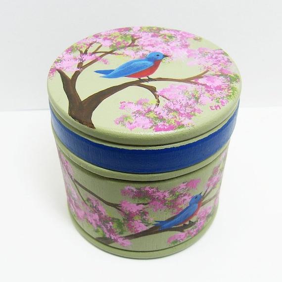 Large Trinket Box - Bluebirds & Blossoms