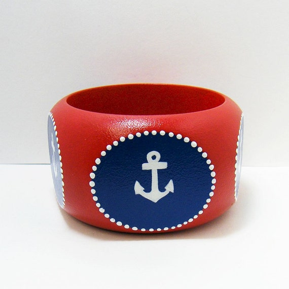 Red, White & Blue Nautical Wooden Bangle Bracelet - One Of A Kind, Hand Painted - Pentagon Shape, Size Medium