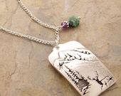 Gemstone and Colorado Rocky Mountains Pendant