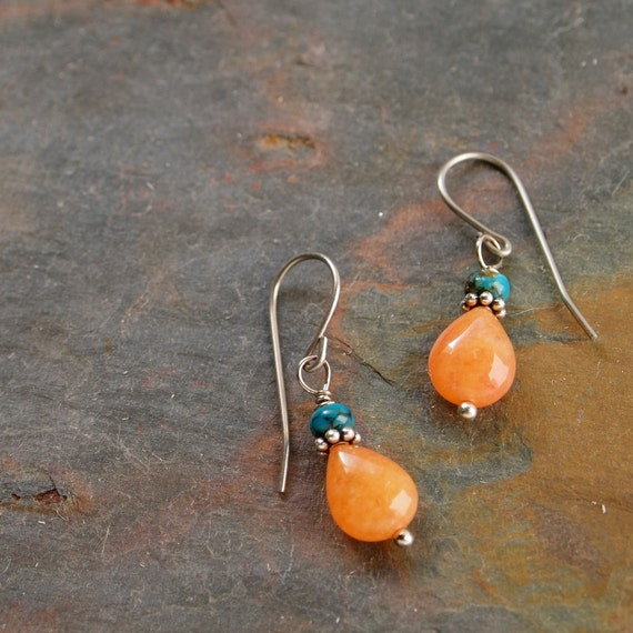 Turquoise and Apricot Aventurine Earrings