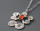 Sterling and Carnelian Angel Necklace