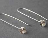 Sterling Spiral Earrings, Long hooks, Simple