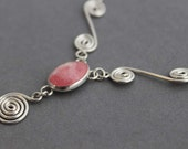 Rhodochrosite and Sterling Necklace, Spiral Choker/Necklace