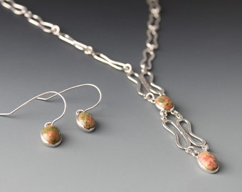 Sterling and Unakite Necklace Set