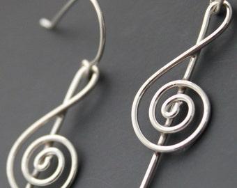 Sterling Treble Clef Earrings