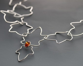 Sterling silver necklace - Amber Necklace - Free Falling Leaves - Statement jewelry