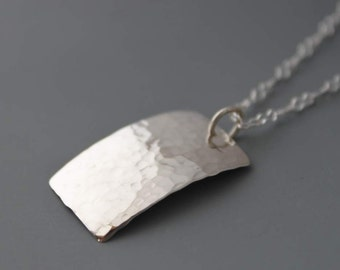 Sterling Rectangle Necklace, Hammered Silver