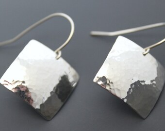 Sterling Square Earrings, Hip to be Square, Hammered Silver Dangles