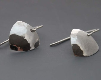 Sterling silver earrings Handmade simple hammered sterling shield earrings