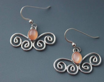 Sterling and Peach Moonstone Butterfly Earrings