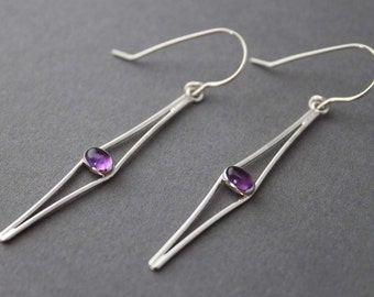 Sterling and Amethyst Earrings - Cats Eyes