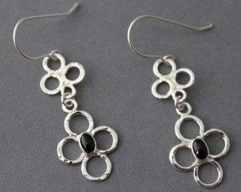 Sterling and Black Onyx Chandelier Earrings, Elegance