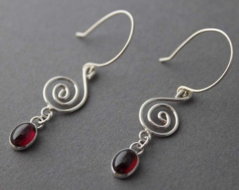 Sterling Garnet Spiral Earrings silver dangles boho indie fashion January Birthstone