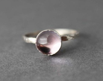 Sterling and Pink Amethyst Ring - Size 9.5