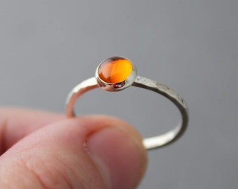 Sterling Amber Ring, Stacking Ring, Custom made for you, Made To Order