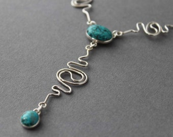 SALE 30 dollars off - Sterling Turquoise Necklace, Statement necklace, Squiggle, Y necklace