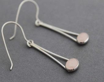 Rose Quartz Earrings sterling silver Handmade pink boho Dangles - Chopsticks