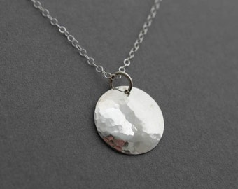 Sterling silver necklace - layering necklace - hammered circle necklace