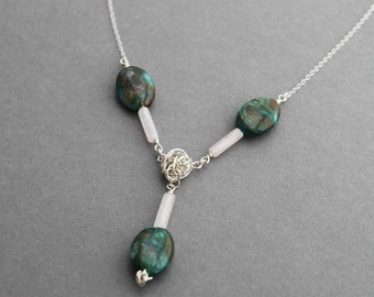 Sterling Necklace, Chrysocolla and Rose Quartz, Y Necklace,Handmade, OOAK