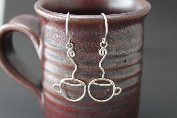 COFFEE ANYONE - Handmade Sterling Silver Coffee Cup Earrings - Ready to ship