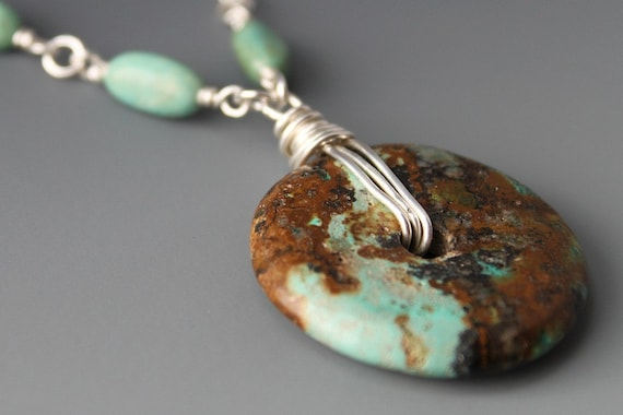 Sterling and Turquoise Donut Necklace - Imagine